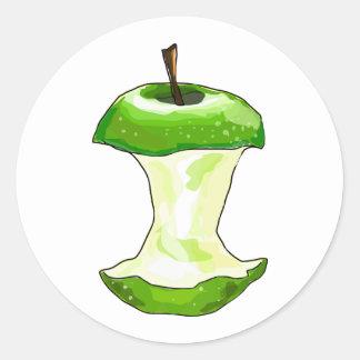 Cartoon Green Apple (Granny Smith) Apple Core Classic Round Sticker