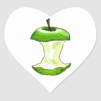 Cartoon Green Apple (Granny Smith) Apple Core Heart Sticker