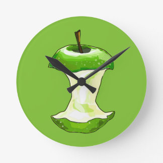 Cartoon Green Apple (Granny Smith) Apple Core Round Clock