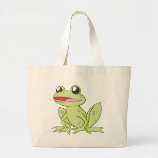 Cartoon Green Bull Frog Jumbo Tote Bag