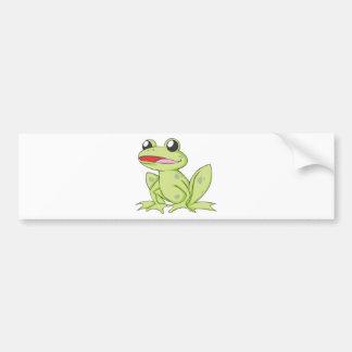Cartoon Green Bull Frog Bumper Sticker
