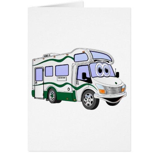 Cartoon Green Camper Truck Greeting Card
