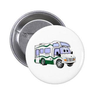 Cartoon Green Camper Truck Pinback Buttons