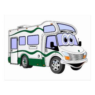 Cartoon Green Camper Truck Postcard