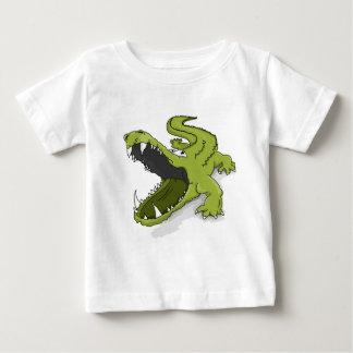 Cartoon green crocodile alligator mouth open baby T-Shirt