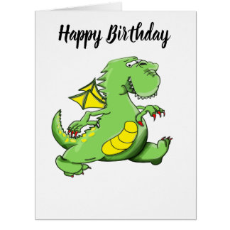 Cartoon green dragon walking on his back feet card