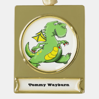 Cartoon green dragon walking on his back feet gold plated banner ornament