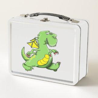 Cartoon green dragon walking on his back feet metal lunch box