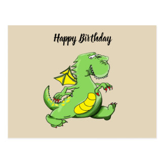 Cartoon green dragon walking on his back feet postcard