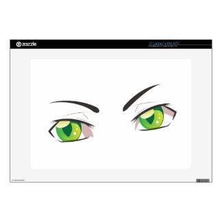 Cartoon Green Eyes Laptop Decals