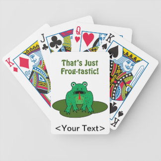 Cartoon green frog That's Just Frog-Tastic Bicycle Playing Cards