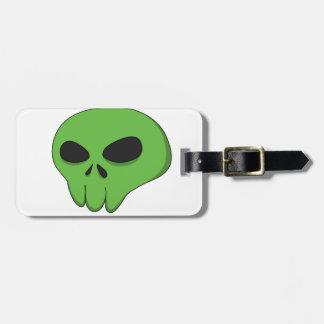 cartoon green skull bag tag