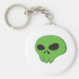 cartoon green skull basic round button keychain