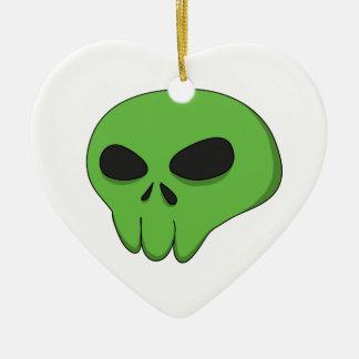 cartoon green skull ceramic ornament