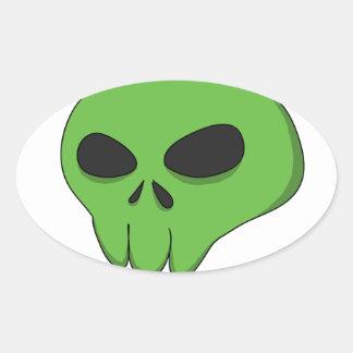 cartoon green skull oval sticker