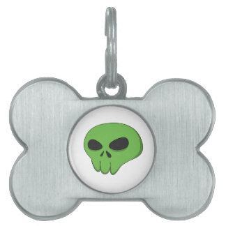 cartoon green skull pet tag