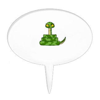 Cartoon Green Snake in Coil Cake Topper