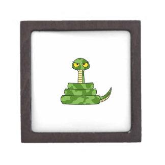 Cartoon Green Snake in Coil Jewelry Box
