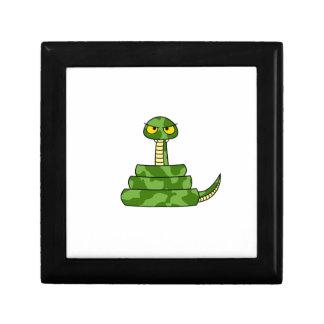 Cartoon Green Snake in Coil Keepsake Box