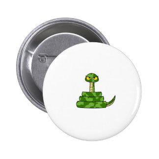 Cartoon Green Snake in Coil Pinback Button