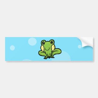 cartoon green speckled frog bumper sticker