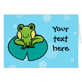 cartoon green speckled frog card template