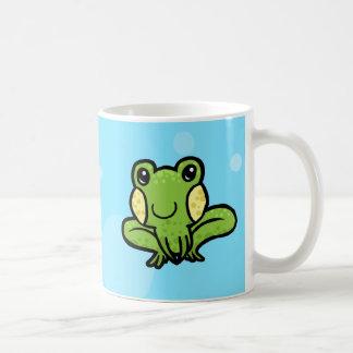 cartoon green speckled frog coffee mug
