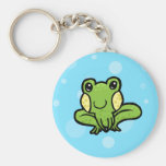 cartoon green speckled frog key chains