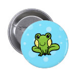 cartoon green speckled frog pin