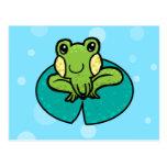 cartoon green speckled frog postcard