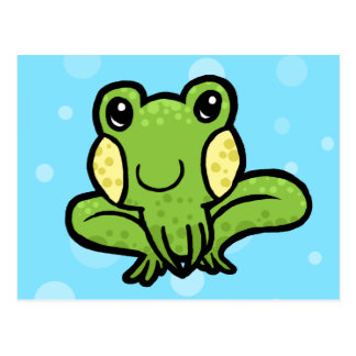 cartoon green speckled frog postcard