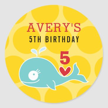Beach Themed Cartoon Green Whale Kid Birthday Party Sticker