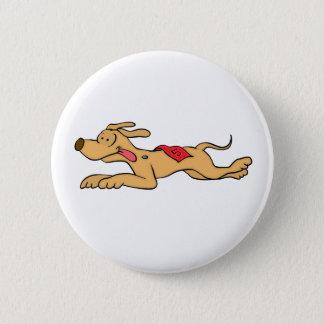 Cartoon greyhound dog racing pinback button