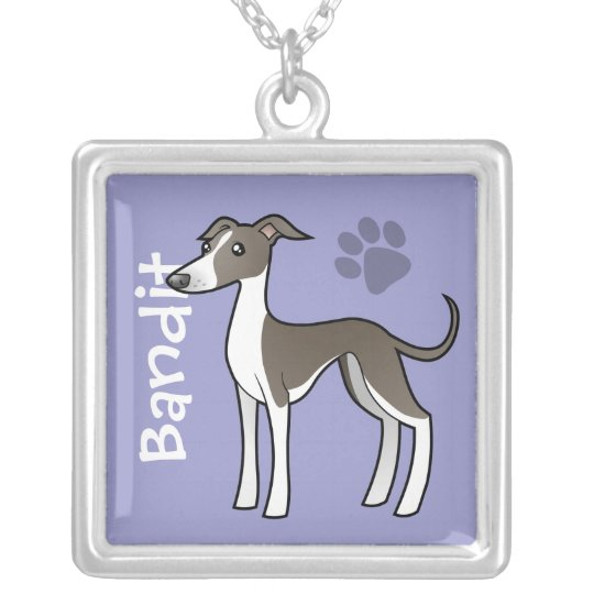 Cartoon Greyhound / Whippet / Iggy (add name) Silver Plated Necklace