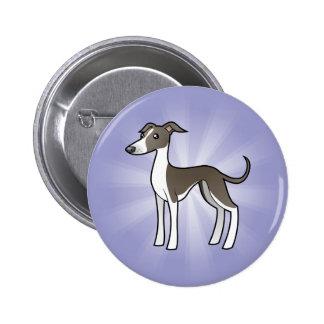 Cartoon Greyhound / Whippet / Italian Greyhound Buttons