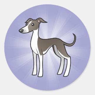 Cartoon Greyhound / Whippet / Italian Greyhound Classic Round Sticker