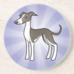 Cartoon Greyhound / Whippet / Italian Greyhound Beverage Coaster