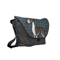 Cartoon Greyhound / Whippet / Italian Greyhound Courier Bag