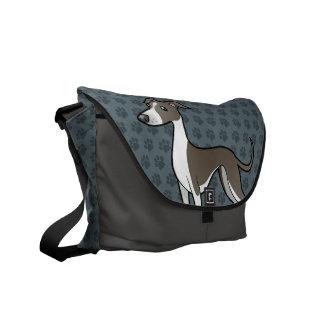 Cartoon Greyhound / Whippet / Italian Greyhound Courier Bag