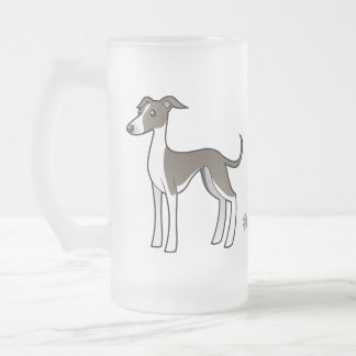 Cartoon Greyhound / Whippet / Italian Greyhound Frosted Glass Beer Mug