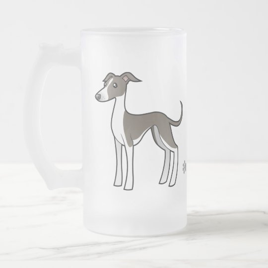 Cartoon Greyhound / Whippet / Italian Greyhound Frosted Glass Beer Mug