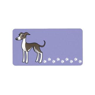 Cartoon Greyhound / Whippet / Italian Greyhound Label
