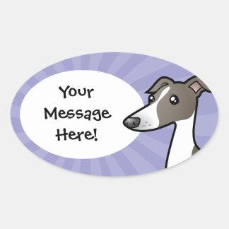 Cartoon Greyhound / Whippet / Italian Greyhound Oval Sticker