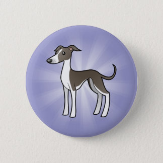 Cartoon Greyhound / Whippet / Italian Greyhound Pinback Button