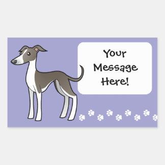 Cartoon Greyhound / Whippet / Italian Greyhound Rectangular Sticker