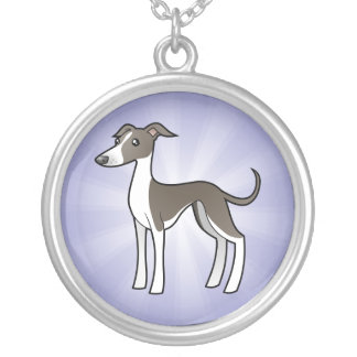 Cartoon Greyhound / Whippet / Italian Greyhound Round Pendant Necklace