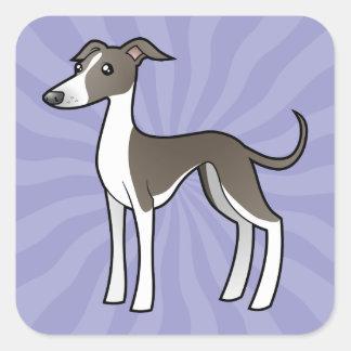 Cartoon Greyhound / Whippet / Italian Greyhound Square Sticker