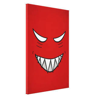 Cartoon Grinning Face With Evil Eyes Red Canvas Print