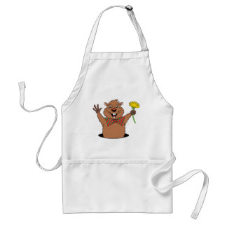 Cartoon Groundhog Adult Apron