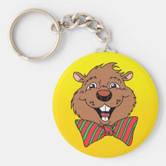 Cartoon Groundhog Basic Round Button Keychain